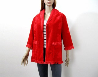 Vintage Handmade 1960s Red Short Robe Jacket Swim Cover Cannon Soft Terry Cloth / Medium Large