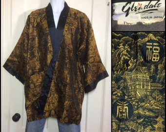 Vintage 1950s Gold black mountain temple waterfall Kanji scene patterned Chinese Smoking Jacket Robe size Medium by Glendale, made in Japan