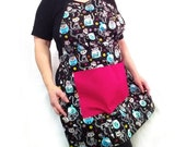 Calavera Cat Apron Sugar Skull Kawaii Ready to Ship Fully Lined Apron Kitchen Crafting Barbeque Baking Smock