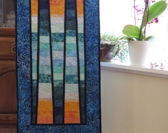 Sunrise Sunset Quilted Batik Wall hanging table runner blues gold peach