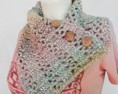 Neck Warmer Scarf crochet Coconut button Cowl Soft pastel colors Ready to Ship