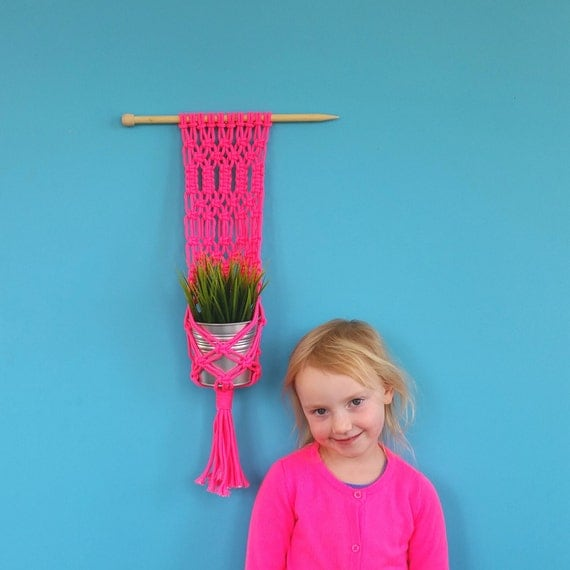 Macrame plant holder. Modern wall hanging. Hot pink macrame cord. XL knitting needle hanger. Hand knotted. Interior decor. Neon, fluro.
