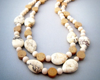 Chunky Stone Statement Necklace, Multi Stone Double Strand Necklace,  Boho Earthy Natural Stone Jewelry, Neutral Jewelry, Unique Gift Women