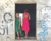 Childs/Girls Convertible Wrap Dress~Short Lace or Chiffon Circle Skirt-Octopus Infinity Twirl Dress~Fiesta Hot Pink~Choose Any fabric