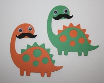 Set of 6 - Stegosaurus Dinosaur with Moustache Party Decor and Scrapbooking Embellishments