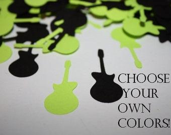 Choose your own colors!  Guitar Die Cut Confetti Table Decor - 200 pieces