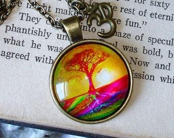 Tree of Life Ohm Charm Yoga Brass Pendant Necklace Meditation Necklace Ahm Ohm   C 10-1