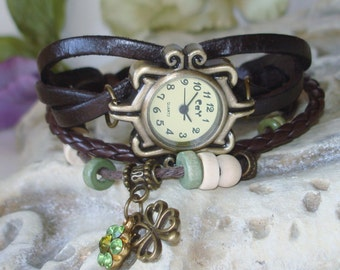 Dark Brown Leather and Cord Wrap Watch - Good Luck Four leaf Clover