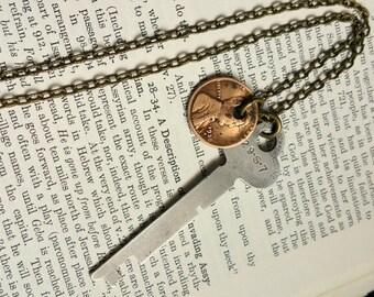 Men's Key Necklace, Coin Necklace,Long Mens Necklace,Key Necklace,Penny Necklace,OOAK