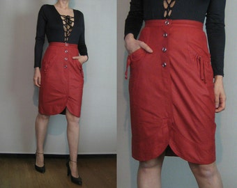 80s BUTTERY LEATHER EUROPEAN vtg Soft Antique Red Ladybug Orange Tulip Style Mini Pencil Skirt with Drawstring Pockets xs Small 1980s