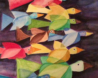 Fly Away, birds flying, clouds, watercolor, painting, abstract painting, bird art, sky art, cubism
