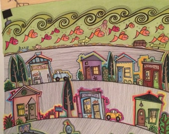 Beach, original ink drawing, sea with fish, beach store, alligator, beach houses,shops,cars, pink sky,happy, whimsical art