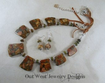 Western Cowgirl Necklace Set - Chunky Mosaic Picasso Jasper and Green Howlite