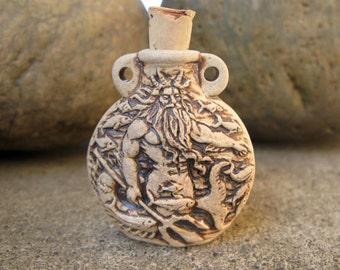 Poseidon high fired ceramic bottle bead - HFBOT