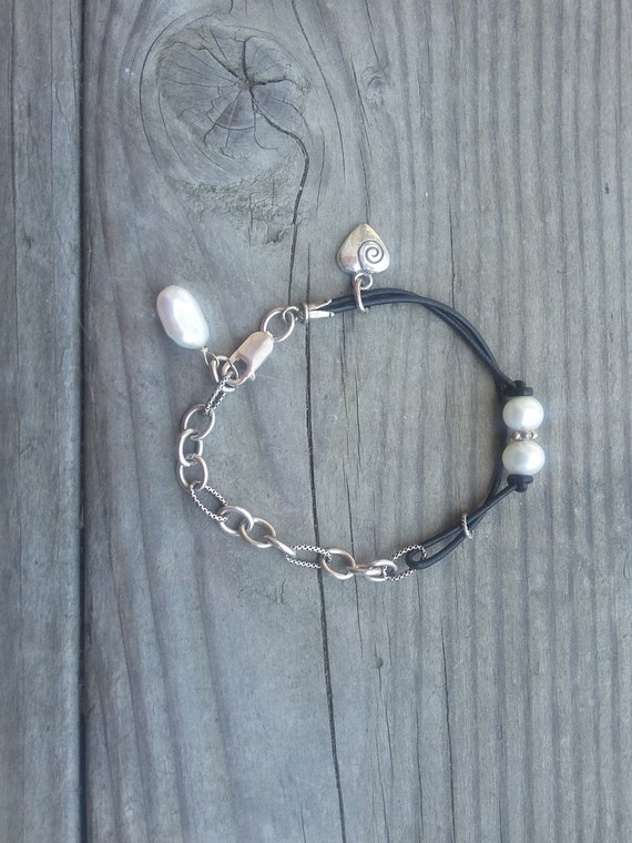 Leather and Sterling Silver, Heart and Pearls Bracelet