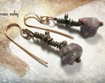 Raw Ruby.  artisan dangle earrings rustic primitive grungy raw ruby chunks copper wire