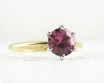 Pink Sapphire Engagement Ring, Vintage 14ct Yellow Gold Setting with Round Cut 0.62 ct Pink Sapphire Single Stone Ring.