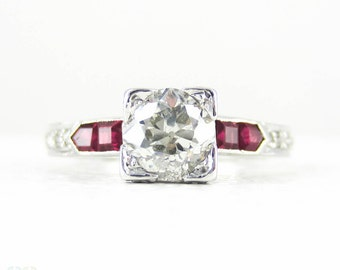 Old European Cut Diamond Engagement Ring with Square Cut Ruby & Round Brilliant Diamond Accents, 18 Carat White Gold.