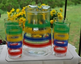 Vintage Mid Century, Art Deco, Anchor Hocking Rainbow Striped Pitcher and Tumblers Serving Set, Absolutely Gorgeous, Excellent Condition.
