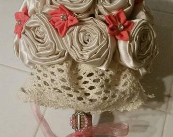 Satin Rose Bouquet, Fabric Flower Bouquet, Fabric Rose, Handmade Rose, Handmade Flower, Custom Bouquet, Alternative to Flowers