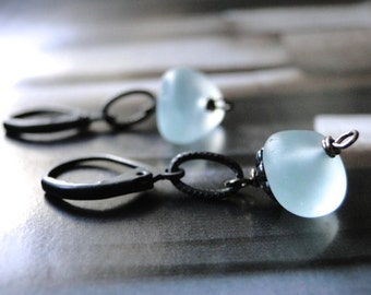Earrings / Pale Blue Beach Glass Earrings / Drop Earrings / Dangle Earrings / Accessories / Gift for Her / Accessories / Stocking Stuffer