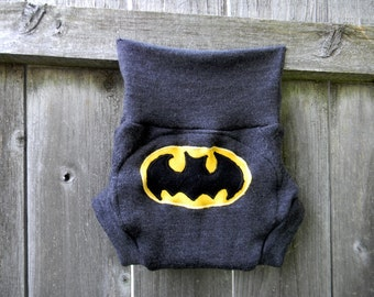 Upcycled Merino Wool Soaker Cover Diaper Cover With Added Doubler Charcoal Gray  With Batman Applique LARGE 12-24M Kidsgogreen