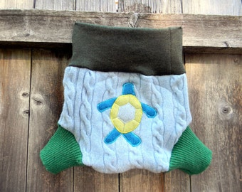Upcycled Wool/Cashmere  Soaker Cover Diaper Cover Shorties With Added Doubler Blue/ Green With Sea Turtle Applique LARGE 12-24 Kidsgogreen
