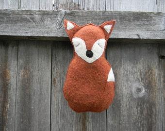 Toy Sleeping Fox Baby Toy Fox Plush Fox Felted Wool Toy Fox Orange Toy Fox Baby Toy Stuffed Toy Fox Recycled Sweater Toy Plush Fox