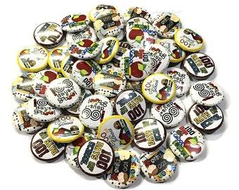 "100 Days of School, 1"" Button, School, School Party Favors, 100 Days, 100 Days of School Party, Pin Back Buttons, School Pins, School Button"