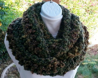 Bulky INFINITY SCARF Loop Cowl, Dark Green, Brown, Rust Orange, Large Thick Soft Warm Winter Handmade Crochet Knit..Ready to Ship in 3 Days