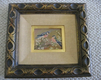 Vintage Signed Painting of Bluebirds on Dogwood Branches - Framed in Ornate Carved Wooden Frame