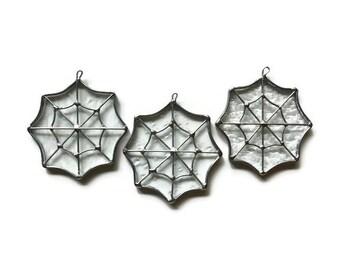 Clear Glass Spider Webs - Set of 3 Suncatchers