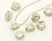 ME-239-OR / 2 Pcs - CZ Tiny Heart Bead Centerpiece, Silver Plated over Brass / 7mm x 7mm