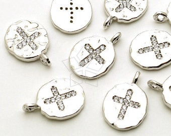 PD-1465-OR / 2 Pcs - CZ Cross Oval Pendant (Large Size), Hammered Texture, Silver Plated over Brass / 10mm x 14mm