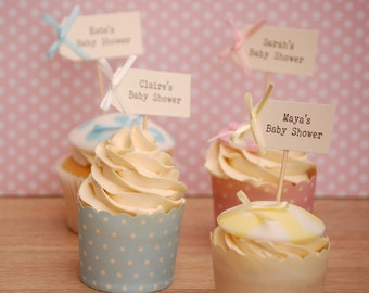 Personalised Mum's Name Baby Shower Cupcake Toppers – set of 10