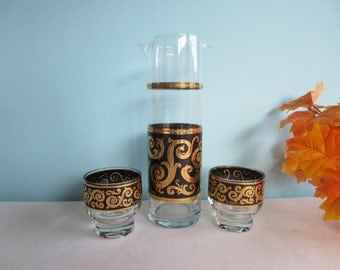 Vintage Culver Black and 22 Kt Gold Decanter/Rocks Glasses - Culver Ebony Baroque