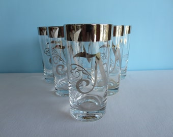 Vintage Silver Rimmed Monogrammed Glasses - Monogrammed with N - Set of 6-  Barware - Hollywood Regency