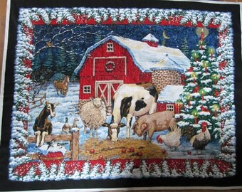 Christmas Farm Springs Wall Hanging Fabric Panel Red Barn Animals Sewing Craft