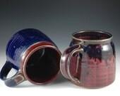 Two - 10 oz  Cobalt Blue / Purple Red Stoneware Coffee Mugs