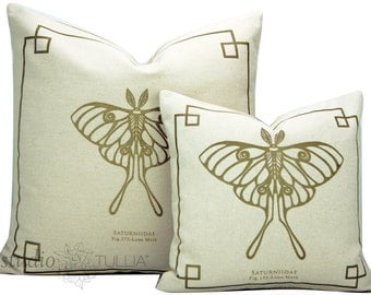 Silkscreen Pillow Covers - butterfly pillow - 14X14 and 20X20, Natural and Gold - The Bug Chicks Collection - Large Luna Moth pillow cover