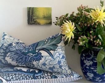 Schumacher Pillow - TWO - Chiang Mai Dragon - China Blue - Dragon - Decorative pillow cover - 12 x 22 inch - ready to ship
