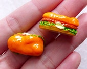 Miniature Dollhouse Food / Hamburger Cabochon / Chicken Burger Cabochon (2pcs / 14mm x 23mm / 3D) Mini Doll Food Fast Food Fake Food FCAB442