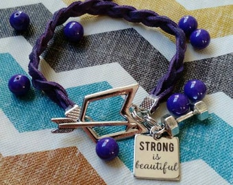 """Braided bracelet """"strong is beautiful"""""""