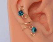 Gold Filled No Pierced Ear Cuff Genuine Turquoise Gemstones