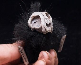 Cat Sith Abdab - spooky tiny cat skull Halloween plushie