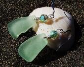 Sea Glass Earrings in Frosty Sea Foam Green with Swarovski Crystals on Sterling Silver French Ear Wires EA 47