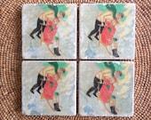 "Marble Stone Coaster Set - Vintage Ski - ""Sweet Couple"" - Ski Decor - Drink Coaster - Ski Decor - Ski Gift - Hostess Gift"