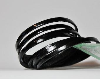 Multi Strand Leather Cuff  Bracelet , Black Patent  Double Wrap Leather   Bracelet