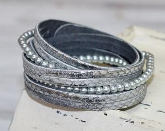 Muti Strand  Leather Bracelet, Gray Silver Snakeskin Print Genuine Leather, Wrap Leather Cuff