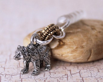 Mama Bear / Papa Bear Cell Phone Dust Plug - Pewter Charm, Woodland Animal, Headphone Jack Charm, Smartphone Accessory